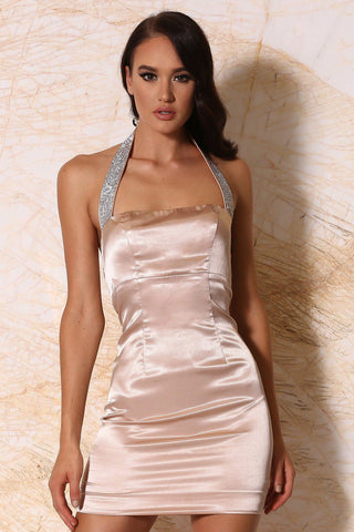 Calista Satin Diamante Halter Mini Dress - Blush