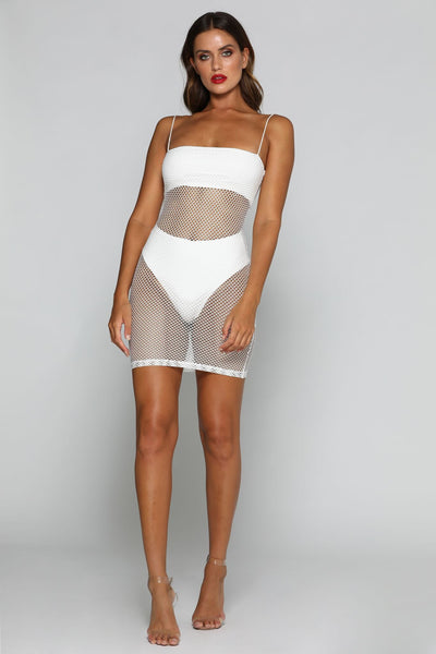 Salma Fishnet Beach Mini Dress - White - MESHKI