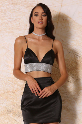 Ilona Satin Diamonte Triangle Bralette - Black - MESHKI