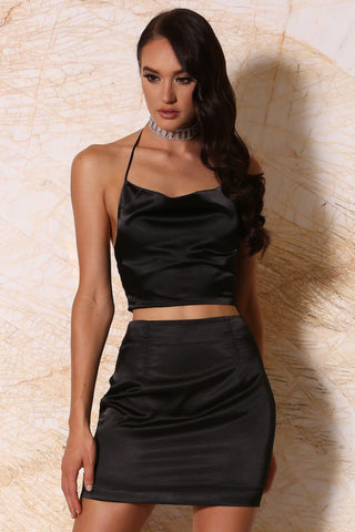 Maribel Satin Drape Crop Top - Black
