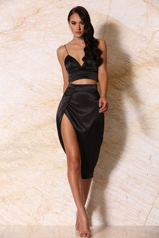 Liliana Satin Wrap Midi Skirt - Black