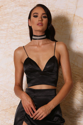 Nova Satin Crop Top - Black - MESHKI