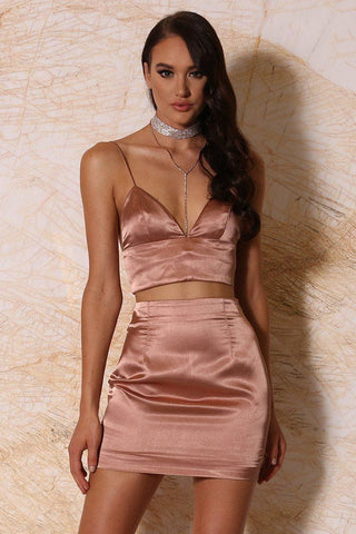 Verena Satin Mini Skirt - Rose Gold - MESHKI