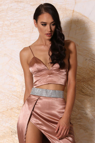 Nova Satin Crop Top - Rose Gold - MESHKI