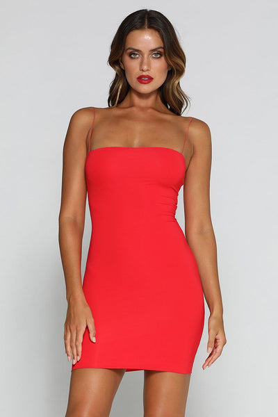 Mia Thin Strap Bodycon Mini Dress - Red - MESHKI