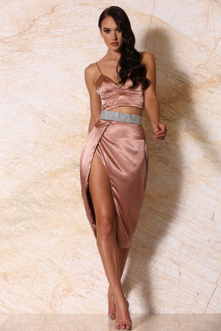 Candice Satin Diamante Wrap Skirt - Rose Gold - MESHKI