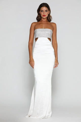 Genesis Strapless Diamante Maxi Dress - White - MESHKI