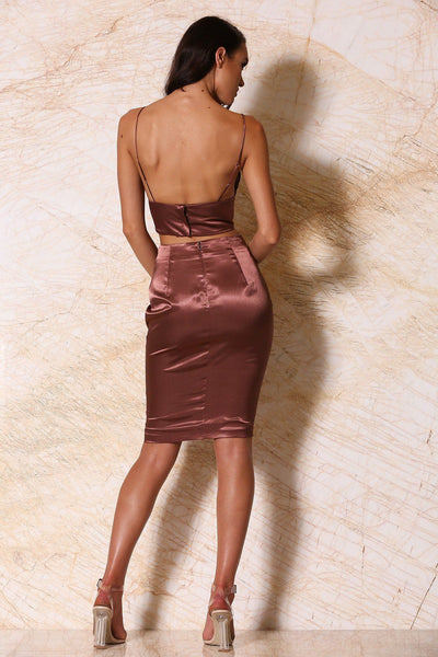 Antonia Satin Midi Skirt - Chocolate - MESHKI