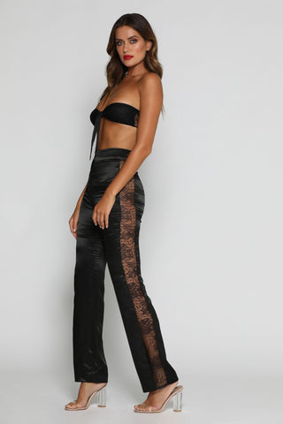 Clarissa Lace Panel Pants - Black - MESHKI