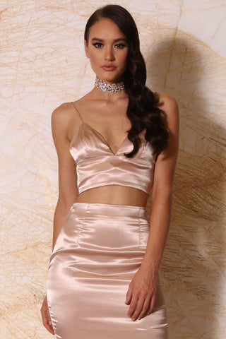 Nova Satin Crop Top - Blush - MESHKI