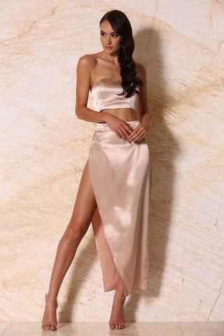 Sionne Satin Maxi Skirt - Blush