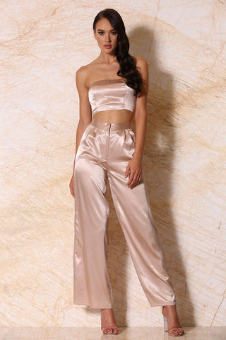 Ariya Satin Wide-Leg Pants - Blush - MESHKI
