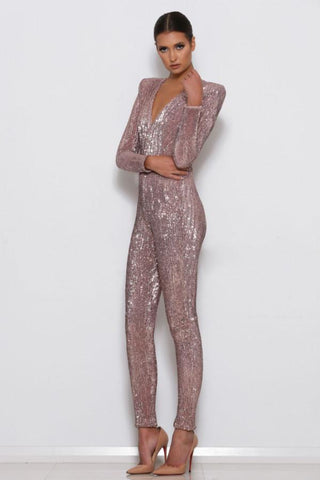 Rena Sequin Jumpsuit - Rose Gold