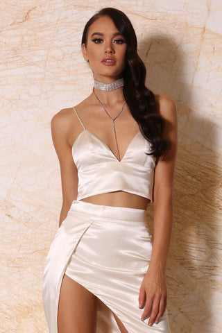 Nova Satin Crop Top - Ivory - MESHKI