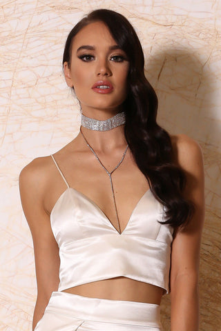 Azalea Layered Diamante Choker Necklace - Gold