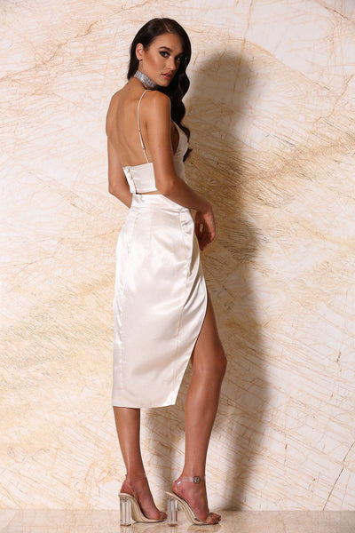 Liliana Satin Wrap Midi Skirt - Ivory - MESHKI