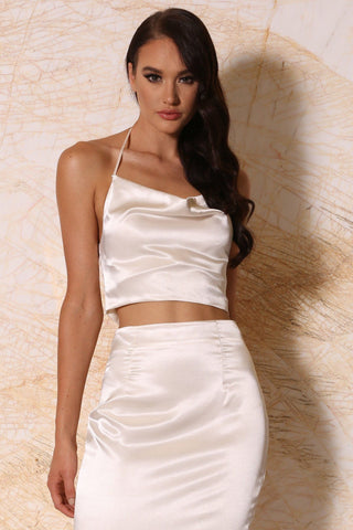 Maribel Satin Cowl Neck Crop Top - Ivory