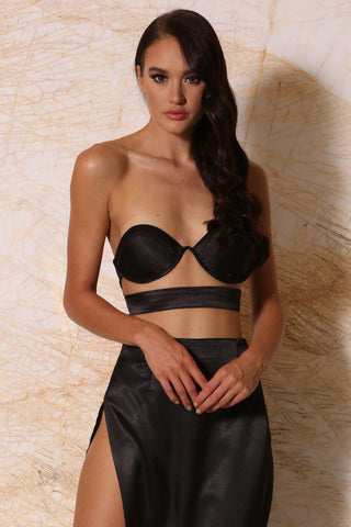 Penelope Satin Bustier Top - Black