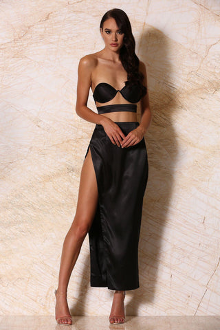 Sionne Satin Maxi Skirt - Black