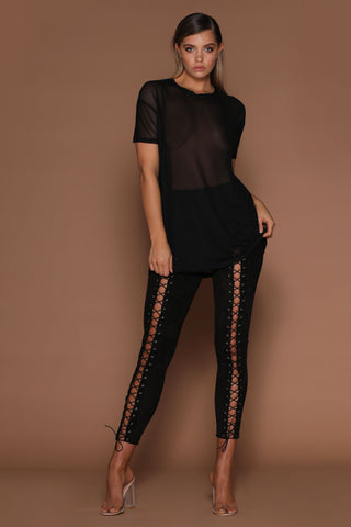 Greta Suede Lace-up Pants - Black - MESHKI