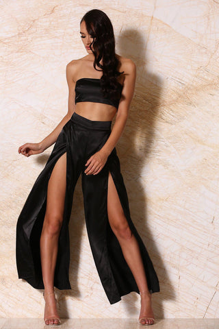 Jourdan Satin Palazzo Pants - Black