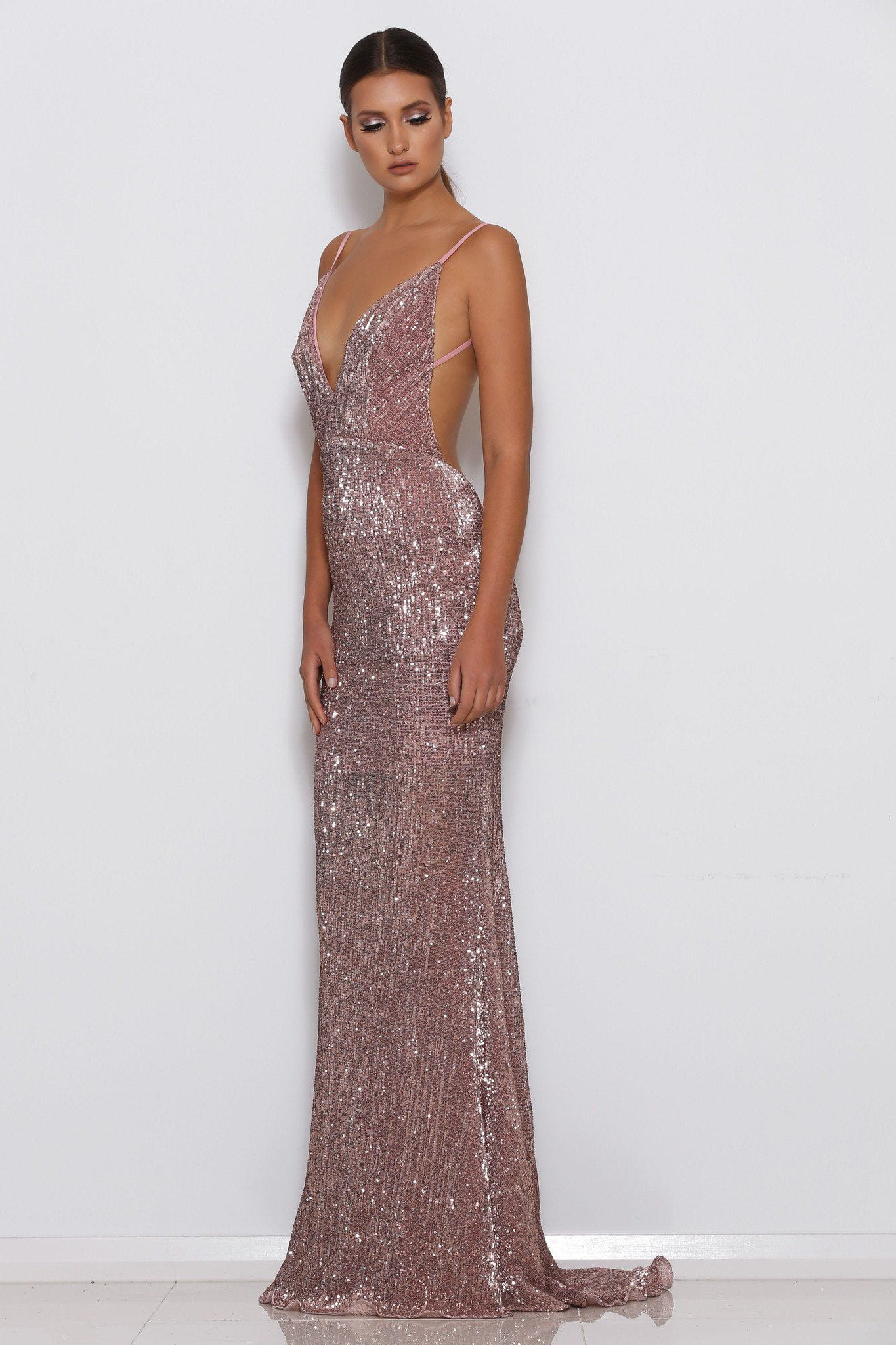 Wedding Rose Gold Dresses jilah sequin gown rose gold meshki gold