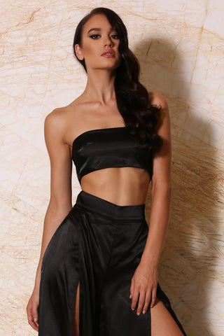 Luella Satin Thin Bandeau - Black