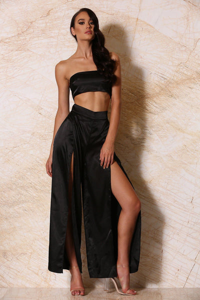Jourdan Satin Palazzo Pants - Black - MESHKI