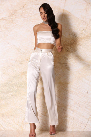 Ariya Satin Wide-Leg Pants - Ivory
