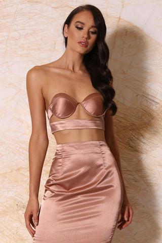 Penelope Satin Bustier Top - Rose Gold