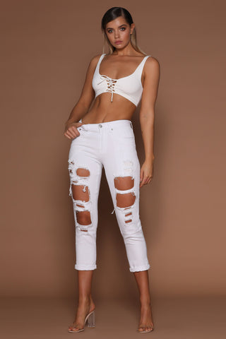 Kaesha Ripped Boyfriend Jeans - White Denim - MESHKI