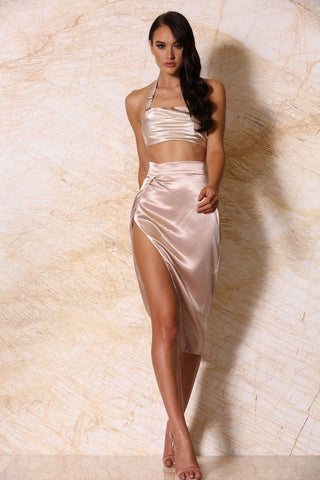 Liliana Satin Wrap Midi Skirt - Blush