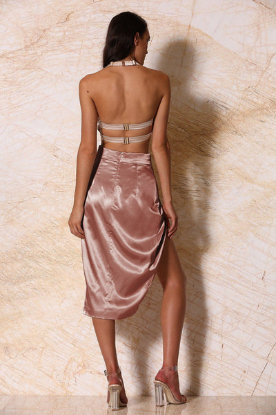 Liliana Satin Wrap Midi Skirt - Rose Gold - MESHKI