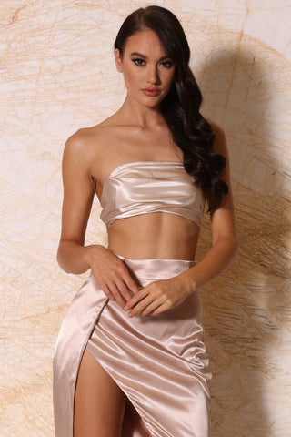 Nadine Satin Ruched Bandeau - Blush