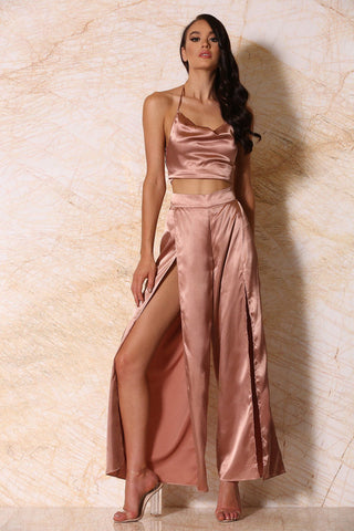 Jourdan Satin Palazzo Pants - Rose Gold