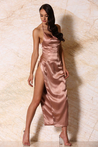 Sionne Satin Maxi Skirt - Rose Gold