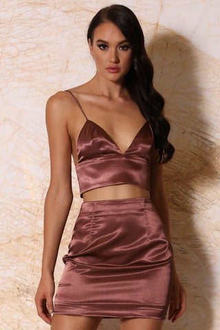 Nova Satin Crop Top - Chocolate - MESHKI