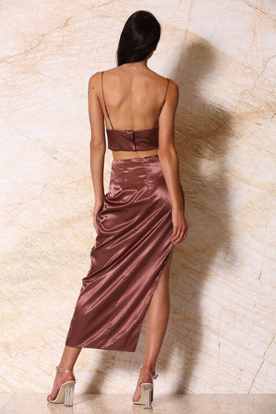 Sionne Satin Maxi Skirt - Chocolate - MESHKI