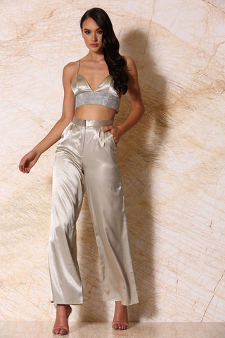 Ariya Satin Wide-Leg Pants - Pistachio