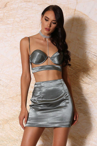 Verena Satin Mini Skirt - Sage - MESHKI