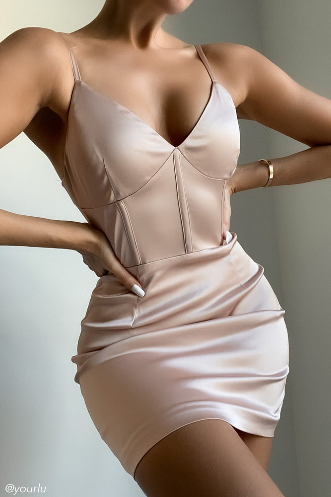 Ludovica Corset Detail Satin Dress - Blush