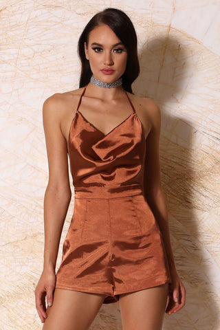 Chanelle Satin Cowl-Neck Playsuit - Rust