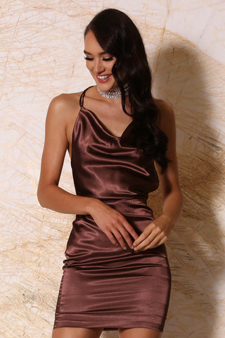 Cartiya Satin Mini Dress - Chocolate
