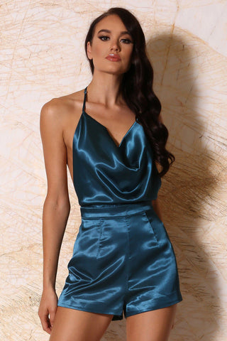 Chanelle Cowl-Neck Satin Playsuit - Teal