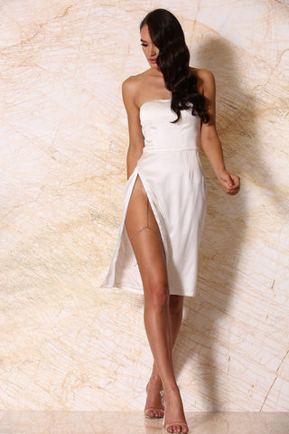 Alayna Satin Strapless Midi Dress - Ivory