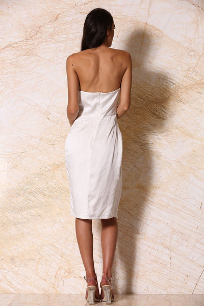 Alayna Satin Midi Dress - Ivory - MESHKI