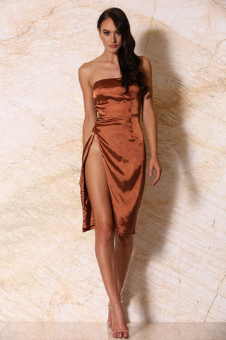 Alayna Satin Strapless Midi Dress - Rust [PRE-ORDER]