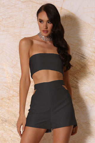 Khloe Thin Strapless Bandeau - Black