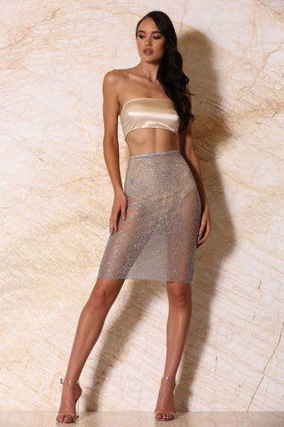 Athena Jewelled Sheer Midi Skirt - Silver Glitter