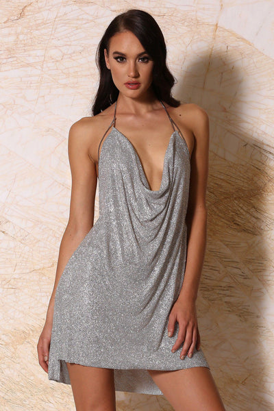 Alessandra Crystal Mesh Dress - Silver - MESHKI